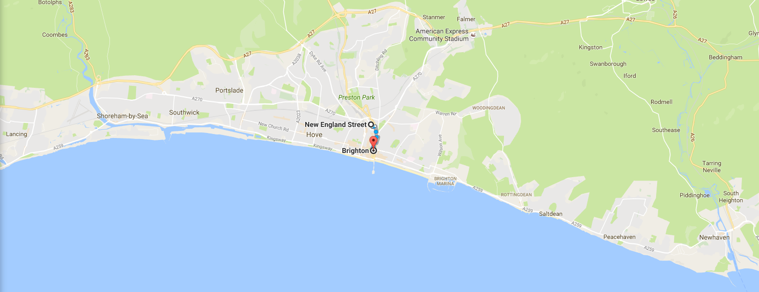 Internship in Brighton Contact Map